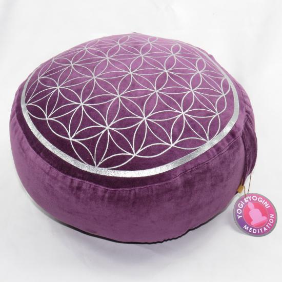 Cuscino da meditazione vintage Fiore della vita viola