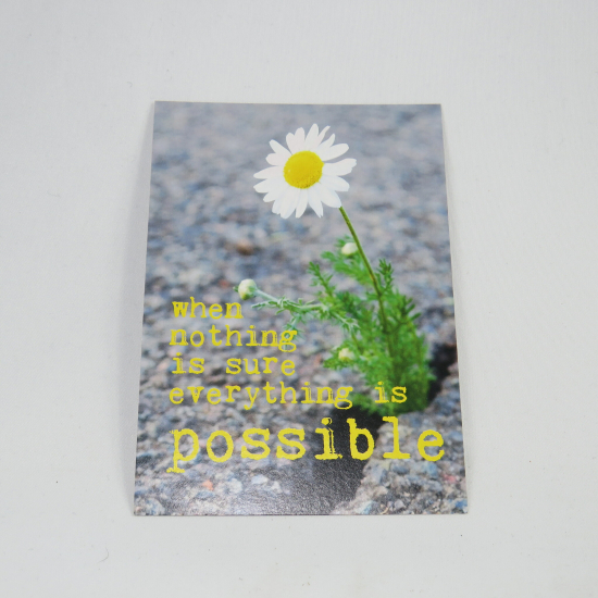 Cartoline con testo: When nothing is sure everything is possible