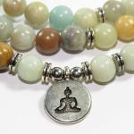 Mala in Amazzonite elastico con Buddha