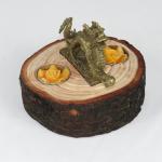Portacandele in legno di cedro con drago in bronzo