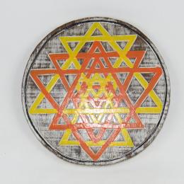 Pannello tondo tantrico yantra con triangoli arancio