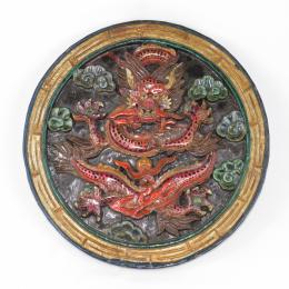 Pannello drago in legno dipinto