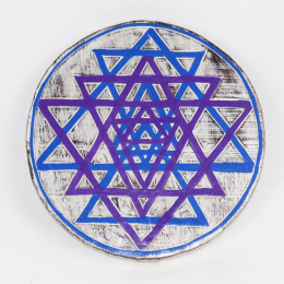 Pannello tondo tantrico yantra con triangoli viola