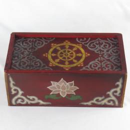 Scatola in legno dipinta con ruota della dottrina e fiori di loto