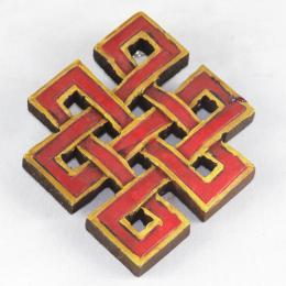 Nodo infinito in legno dipinto rosso